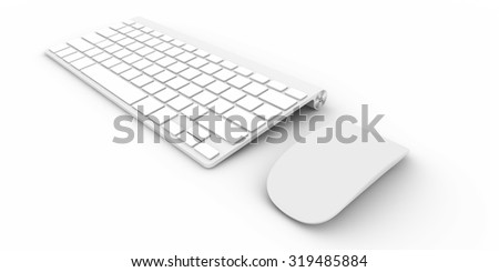 Computer keyboard Isolated on white background 3d rendering - stock photo