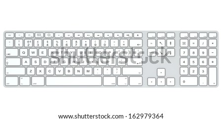 Computer keyboard isolated on white background. Top view