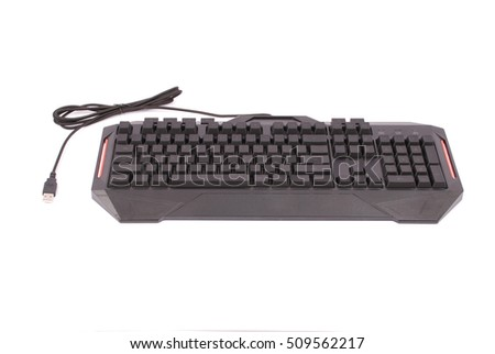 Computer keyboard isolated on white background with soft shadow