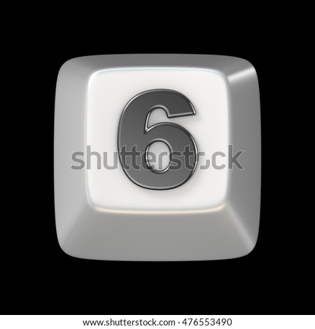Computer keyboard key number SIX 6 3D render illustration isolated on black background