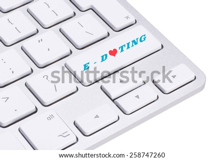 Computer keyboard key with concept for online internet dating - stock photo