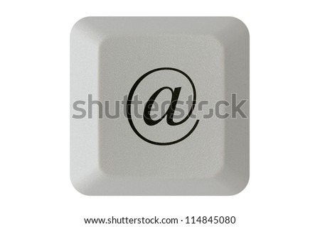 Computer keyboard key with E-mail symbol. Isolated on white background.