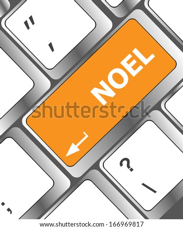 Computer keyboard key with Noel button