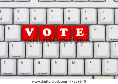 Computer keyboard keys displaying the word vote in red, Voting on the internet