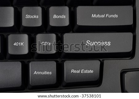 Computer keyboard keys with investment options provide guidance to success. - stock photo