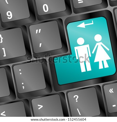 Computer keyboard keys with man and woman keys, raster - stock photo