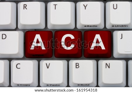Computer keyboard keys with word ACA, Affordable Care Act - stock photo