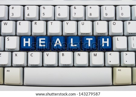 Computer keyboard keys with word Health, Getting medical advice online