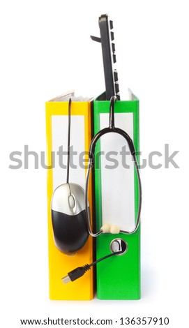 Computer keyboard, mouse and stethoscope with ring binder against white background - stock photo