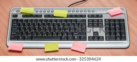 Computer keyboard on the wooden table writing - stock photo