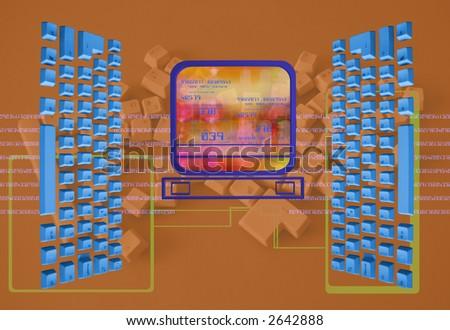 computer keyboard pattern - stock photo