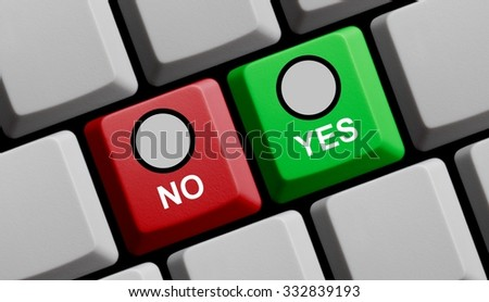 Computer Keyboard red an green showing yes or no