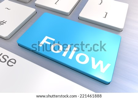 Computer keyboard rendered illustration with a Social Media Follow Button Concept - stock photo