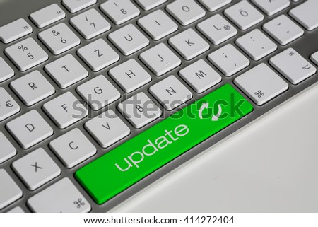 Computer Keyboard - space bar with update text - green