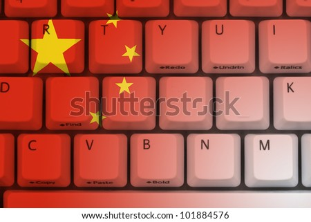 Computer keyboard the Chinese flag on it, Internet in China