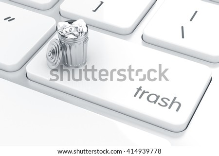 Computer keyboard white button with trash can. Recycle bin concept. 3d rendering - stock photo