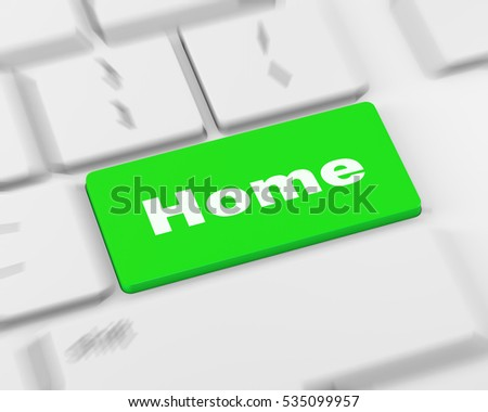 Computer keyboard with a Home key button, raster, 3d rendering