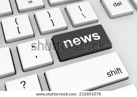 Computer Keyboard with Black News Button Illustration - stock photo