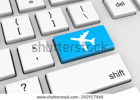 Computer Keyboard with Blue Airplane Button Illustration - stock photo
