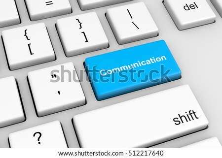 Computer Keyboard with Blue Communication Button 3D Illustration