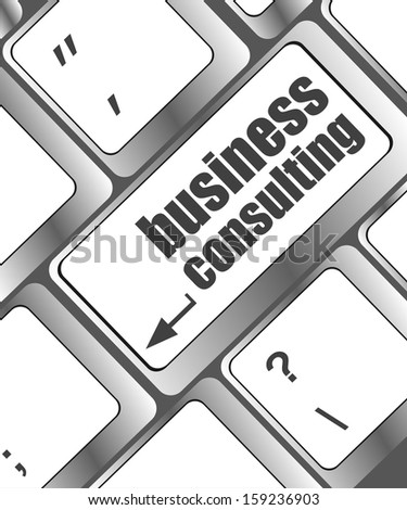 Computer keyboard with business consulting key. business button concept, raster