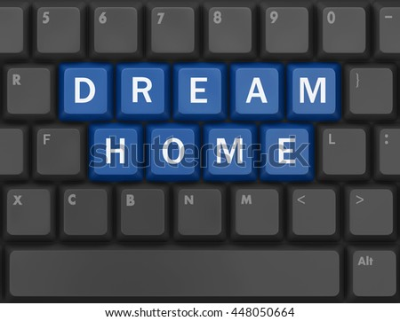 Computer keyboard with dream home key - technology background, 3d rendering