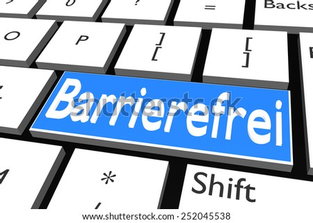 Computer keyboard with font Barrierefrei (Wheelchair Accessible) - stock photo