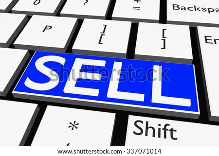 Computer keyboard with font SELL - stock photo