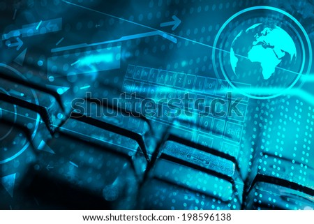 Computer keyboard with glowing icons, technology concept - stock photo
