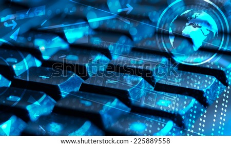 Computer keyboard with glowing icons, technology concept