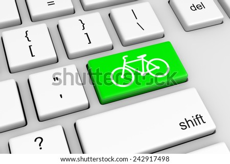 Computer Keyboard with Green Bike Button Illustration - stock photo