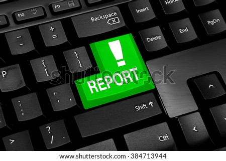 Computer keyboard with green report button