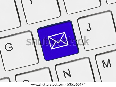 Computer keyboard with letter key - internet concept - 3D illustration
