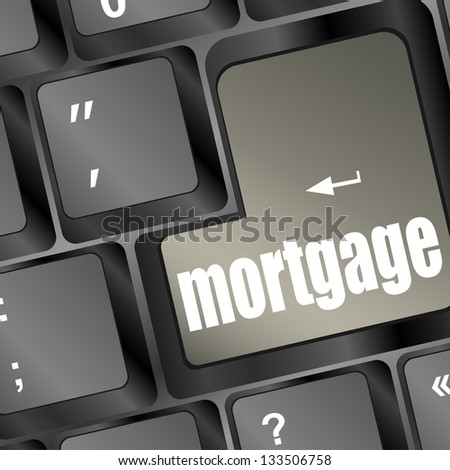 Computer keyboard with mortgage word on enter button, raster - stock photo