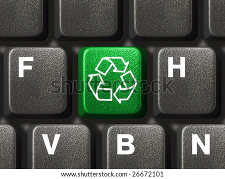 Computer keyboard with recycling symbol, technology concept - stock photo