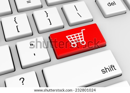 Computer Keyboard with Shopping Cart Red Button Illustration - stock photo