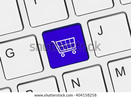 Computer keyboard with shopping key - internet concept - stock photo