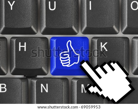 Computer keyboard with thumb gesturing hand key