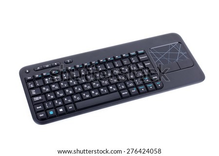 Computer keyboard with touchpad isolated on white - stock photo