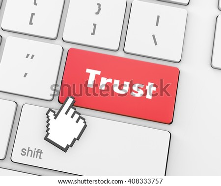 Computer keyboard with trust button, business concept, raster, 3d rendering