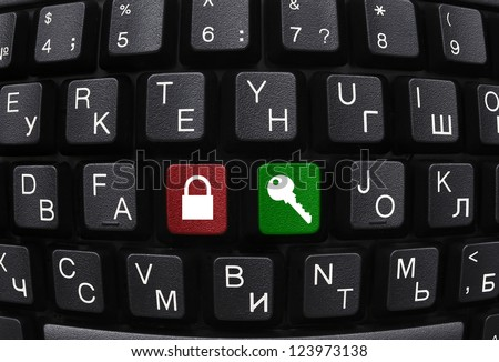 Computer keyboard with two security buttons close-up - stock photo