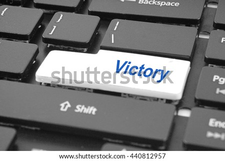 Computer keyboard with victory key. Keyboard keys icon button .