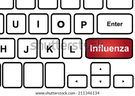 Computer keyboard with word influenza. - stock photo