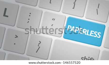 Computer keyboard with word Paperless - stock photo