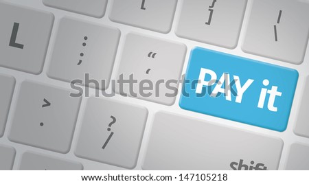 Computer keyboard with word Pay it
