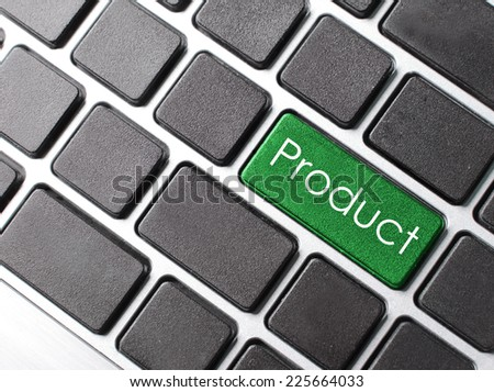 computer keyboard with word Product on enter button