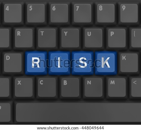 computer keyboard with word RISK, 3d rendering