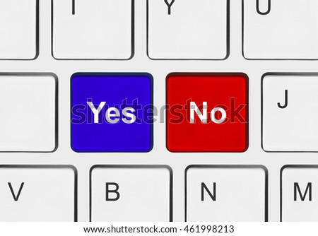 Computer keyboard with Yes and No keys - business concept