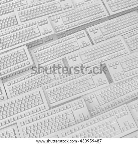 Computer keyboards many white models background, 3d illustration