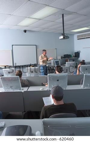 computer lab class - stock photo
